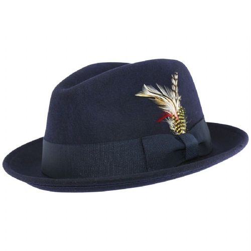 Navy Trilby Hat C-Crown Wool Felt